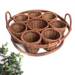Wicker Utensils Cutlery Round Basket Holder Caddy